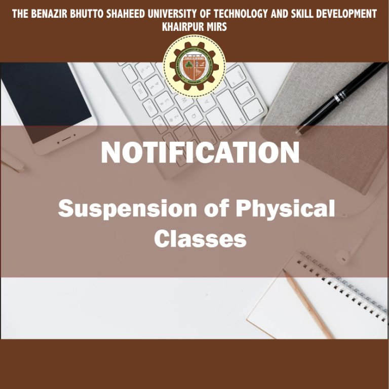 Notification for Suspention of Physical Classes with the following Conditions