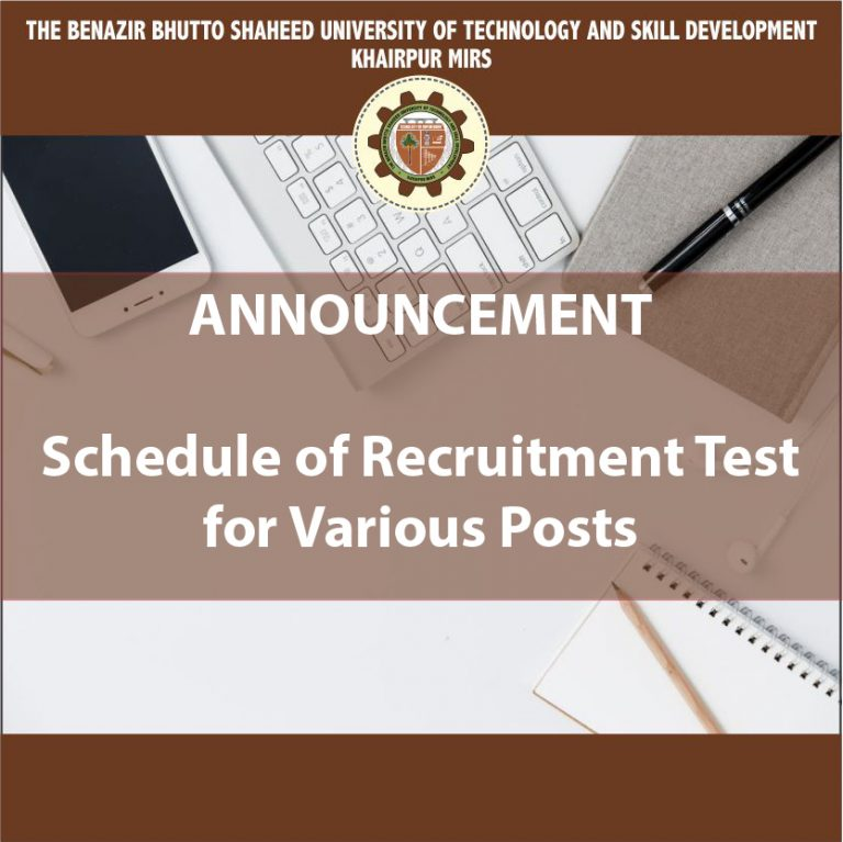 Schedule of Recruitment Test For Various Positions